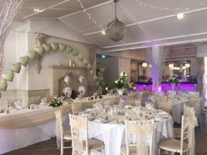 Ballroom Manor by the Lake champagne sash & swagging