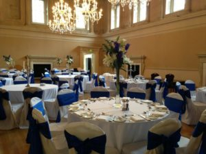 Bath Assembly Rooms royal blue taffeta sashes
