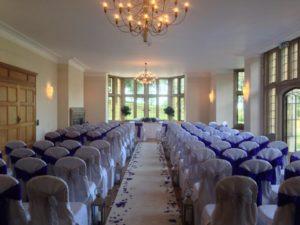 Coomeb lodge purple & silver ceremony set up