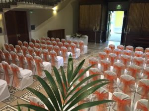 Chair covers & floor standing candelabras, Leigh Court