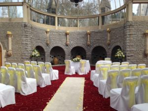 Tortworth Court lemon sashes & aisle runner with petals a