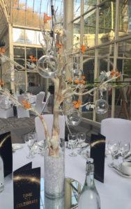 Manzanita trees with globe tealights Tortworth Court
