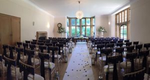 navy sashes, runner & lanterns Coombe Lodge