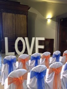 Giant LOVE letters and chair covers, Leigh Court