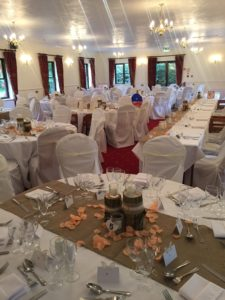 Hessian table runners, chair covers & venue set up service Marsh Farm House Hotel